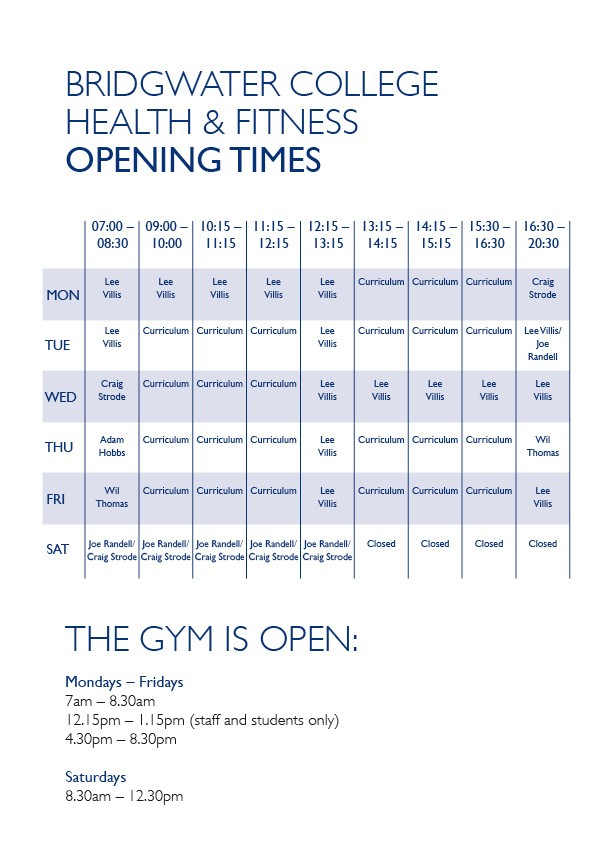 Fitness zone gym bridgwater college - Taunton school swimming pool opening times ...
